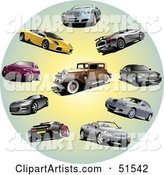 Digital Collage of Coupes, Classic and Sports Cars in a Circle