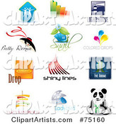 Digital Collage of Couple, Bar Graph, Lighthouse, Fashion, Snail, Color, Droplets, Lines, Arrows, Sandwich, Ladybug and Panda Icon Logos