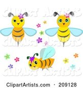 Digital Collage of Cute Bees with Flowers