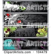 Digital Collage of Dark Grungy Graffiti Banners with Waves, Drips, Splatters, and Arrows