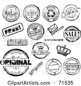 Digital Collage of Distressed Black and White Rubber Stamp Styled Notices