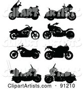 Digital Collage of Eight Motorcycle Silhouettes