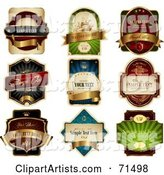 Digital Collage of Elegant Product Labels with Golden Banners