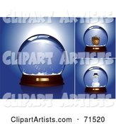 Digital Collage of Empty, Acorn and Snowman Snow Globes over Blue