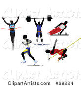 Digital Collage of Five Silhouetted Athletic Men; Runners, Weight Lifter, Gymnast and Pole Vaulter