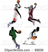 Digital Collage of Four Jumping, Running and Dribbling Basketball Players