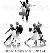 Digital Collage of Grayscale Romantic Couples Dancing