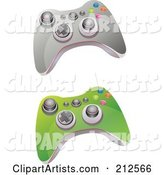 Digital Collage of Green and Gray Video Game Controller with Buttons and Knobs