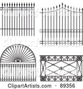 Digital Collage of Ornate Wrought Iron Fencing - Version 7