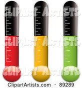 Digital Collage of Red, Yellow and Green Thermometer Variations