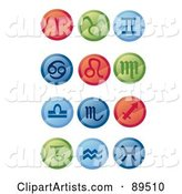Digital Collage of Round Red, Green and Blue Horoscope App Icons
