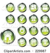 Digital Collage of Shiny Green and Chrome Computer and Website Icon Buttons