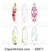 Digital Collage of Six Floral Surf Boards
