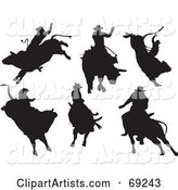 Digital Collage of Six Rodeo Cowboys on Bulls