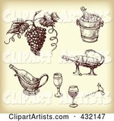 Digital Collage of Sketched Grapes and Wine Tools in Sepia Tone