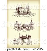 Digital Collage of Three Chateaus on Sepia
