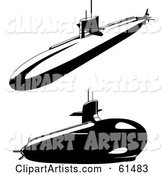 Digital Collage of Two Black and White Submarines