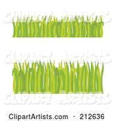 Digital Collage of Two Borders of Green Grass Blades