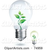 Digital Collage of Two Electric Light Bulbs with Plants Growing Inside