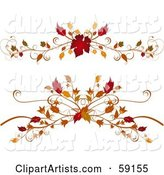 Digital Collage of Two Elegant Autumn Foliage Flourishes on White