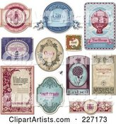 Digital Collage of Vintage Label Designs with Sample Text - 1