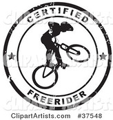 Distressed Black and White Certified Freerider Seal