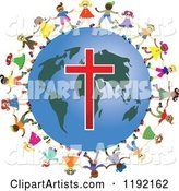 Diverse Christian Kids Holding Hands Around a Globe with a Cross