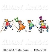 Diverse Group of Disabled Stick Children Running and Playing