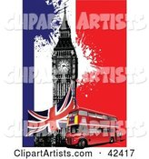 Double Decker Bus, Union Jack and Big Ben on a Colorful Grunge Background