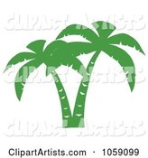 Double Palm Tree Silhouette in Green