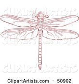 Dragonfly Made of Red Dots