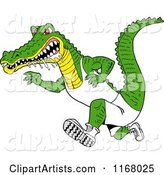 Drooling Alligator Running in Sports Apparel