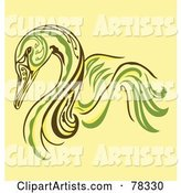 Elegant Green, Yellow and Brown Swan Design
