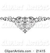 Elegant Ornamental Scroll with Vines on a White Background