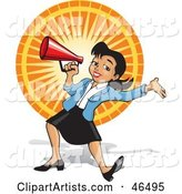 Energetic Business Woman Announcing Through a Megaphone at a Fair