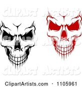 Evil Black and White and Red Skulls