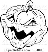 Evil Laughing Carved Halloween Jack O Lantern