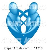 Family of Four Embracing and Forming the Shape of a Blue Heart