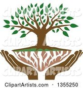 Family Tree with Green Leaves, White Roots and Uplifted Hands