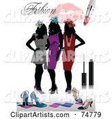 Fashion Background of Three Silhouetted Women in Dresses, with Shoes and Makeup over White