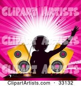 Female DJ Mixing Records in Front of Golden Speakers, Silhouetted Against a Bursting Pink Grunge Background