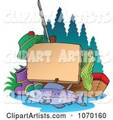 Fishing Post Sign with Gear