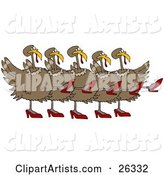 Five Brown Turkey Birds in High Heels, Kicking Their Legs up While Dancing in a Chorus Line