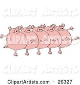 Five Fat Pink Pigs Kicking Their Legs up While Dancing in a Chorus Line