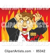 Flaming Mad Boss with a Red Arrow Tie, Grabbing His Hair