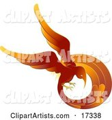 Flaming Red and Orange Phoenix Fire Bird Flying in a Circle, Symbolizing Rebirth