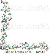 Flowering Vine and Butterfly Border over White