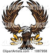 Flying Bald Eagle Mascot with Extended Talons