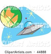 Flying Saucer near a Planet in Outer Space