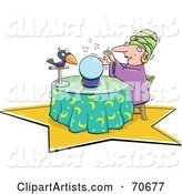 Fortune Teller with Her Crystal Ball and Bird